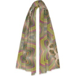 100% Cashmere Scarf - Striped Colorful Flower by VIDA Original Artist found on MODAPINS from SHOPVIDA for USD $145.00