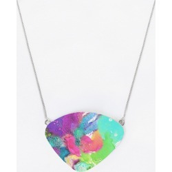 Oversized Statement Pendant - O. Pendant Blossoming 103 in Blue/Green/Pink by VIDA Original Artist found on MODAPINS from SHOPVIDA for USD $50.00
