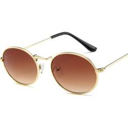 Costbuys  Oval Women Sunglasses Men Glasses Lady Luxury Retro Metal Sun Glasses Vintage Mirror UV400 oculos de sol - Tea