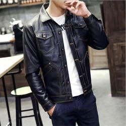 Costbuys  autumn and winter men's fashion leather coat lapel youth leather jacket Multi Pocket slim PU leather - black / L