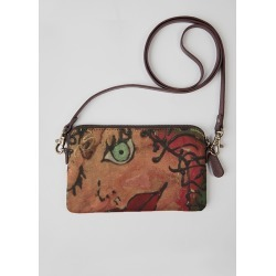 Statement Clutch - Ruby Red Lips Clutch in Blue/Brown/Green by VIDA Original Artist