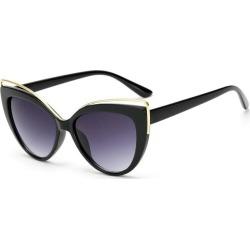 Costbuys  Cat eye Sunglasses rose gold lens mirror Women Designer Eyewear black Cateye Glasses oculos de sol - black / UV400