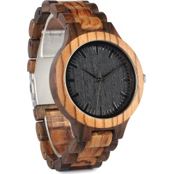 and Ebony Wooden Watch with All