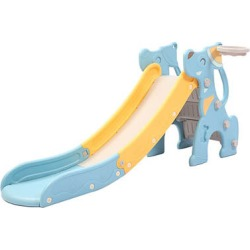Blue Kids Slide Extra Long Basketball Hoop Activity Center Play Set