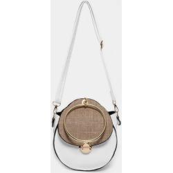 Jute Flap White Round Cross Body Bag
