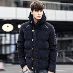 Costbuys  Winter Corduroy Parka Jacket England Style Solid Hooded Thick Winter Male Wadded Jacket - dark blue / L