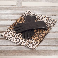 Leopard Print Cashmere and Silk Scarf & Fur Lined Leather Gloves Set found on Bargain Bro UK from black.co.uk