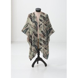 Sheer Wrap - Leaf The Jungle Ii in Brown/Green/White by Always Seek Original Artist found on Bargain Bro India from SHOPVIDA for $120.00