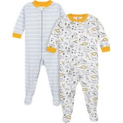 2 Pack Baby Boys Dinos Snug Fit Footed Pajamas 24M