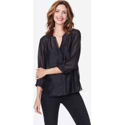 NYDJ Women's Lurex Pintuck Blouse in Black, Regular, Size: XS found on Bargain Bro India from NYDJ for $99.00