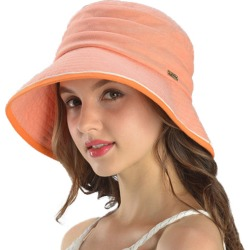 Costbuys Women Summer 100% Cotton Hats Wide Brim Floppy Bucket Sun Hat Casual Beach Hat 4 Colors Sombreros - Orange / 56 cm to