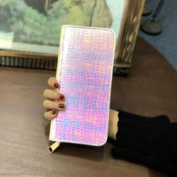 Clutch Long Holographic with Zipper Coin
