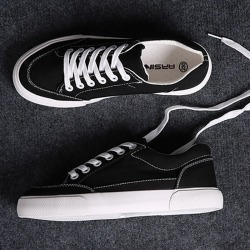 Costbuys  Women sneakers new arrivals fashion lace-up black/white women shoes solid sewing shallow casual canvas shoes women - B