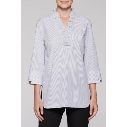 Ming Wang Pinstripe and Ruffle Blouse - Black/White / 3X - Plus Size - Spring 2019 Collection found on Bargain Bro Philippines from Ming Wang Knits for $245.00