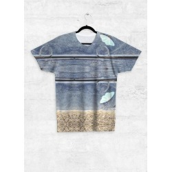 Unisex Tee - Front Print - Moth in Blue/Brown/Cyan by VIDA Original Artist found on Bargain Bro India from SHOPVIDA for $55.00
