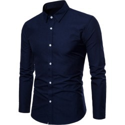 Costbuys  Spring Polka and Solid Man Casual Shirts Classic Men Dress Shirt Long Sleeve High Quality Fashion Clothes For Male - N