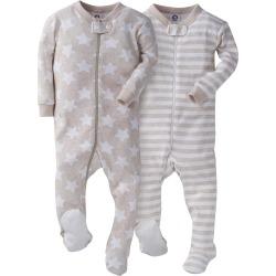 2 Pack Boys Tan Snug Fit Footed Pajamas 6 9M