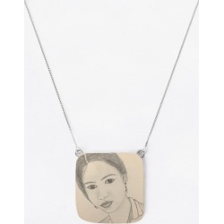 Oversized Square Pendant - Girl in Brown/Green by VIDA Original Artist found on Bargain Bro India from SHOPVIDA for $55.00