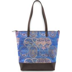 Statement Bag - African Masks Scene 4 in Black/Blue/Brown by VIDA Original Artist found on Bargain Bro Philippines from SHOPVIDA for $95.00
