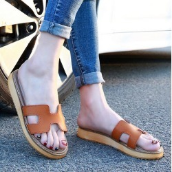 Costbuys  Design Shoes Women Sandals Real Leather Slippers Casual Flats Genuine Leather Slides Summer Style Flats - brown Flip F