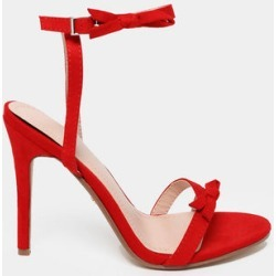 Bow Straps Red Barely There Heels