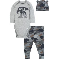 Baby Boy 3-piece Onesies Bodysuit, Pants and Cap Set - Bear - 3-6M
