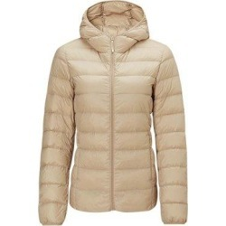 Women's Lightweight Slim-fit Down Jacket, Khaki / M / With cap