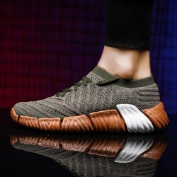 Costbuys  Brand Design Spring Autumn Running Shoes Adult Breathable Knit  Athletic Outdoor Sport Sneakers Men Walking Shoes - Bl