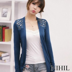 Costbuys  Summer Lace Cardigan Women Blouse Candy Color Shirt Back Hollow out Knitted Crochet Tops For Ladies - Blue / L