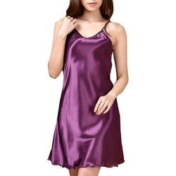 Costbuys  Women Nightshirts Satin Chemises Comfortable Sexy Strap Nightdress Women Underwear Rayon sleepwear - Purple / M