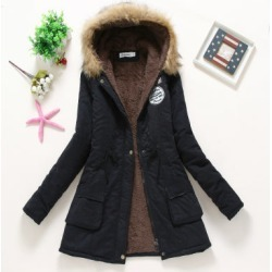 Costbuys  Winter Coat Women Parka Casual Outwear Military Hooded Thickening Cotton Coat Winter Jacket Women Fur Clothes - Black