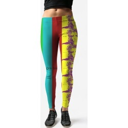Leggings - Tv Or Not Tv Erik Stahl in Brown/Cyan/Green by VIDA Original Artist