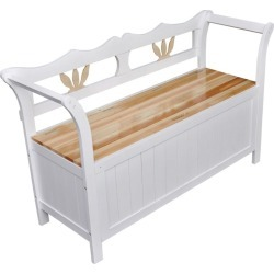 Wood Storage Bench - White