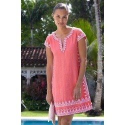 Como Embroidered Linen Dress by Sulu Lobster Pink/ White - Lobster Pink/ White / S found on Bargain Bro UK from ASPIGA