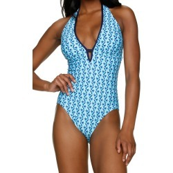 Palm Springs Key Hole Swimsuit by Helen Jon Turquoise/Navy - Turquoise/Navy / XS found on Bargain Bro UK from ASPIGA
