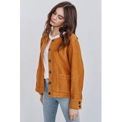 Elin Corduroy Jacket For Women - Mustard - L | Amour Vert found on MODAPINS from Amour Vert for USD $108.00