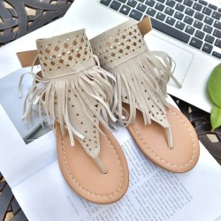 Costbuys  Women sandals sexy gladiator ladies flat sandals tassel women summer shoes woman - Beige / 9.5 found on Bargain Bro India from cost buys for $198.99