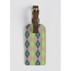 Leather Accent Tag - Rhombus Color Comb. 10 in Brown/Green/Plaid by VIDA Original Artist