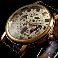 Costbuys  Men Mechanical Watch Men Top Brand Luxury Designer Mechanical Leather strap Watch Man Gold Clock male Fashion - GOLD