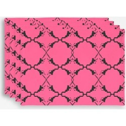 Placemat Set - Ethno Design Blocks Pink in Brown/Pink/Red by VIDA Original Artist