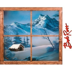 """Bob Ross: """"Splendor of a Snowy Winter"""" Instant Window - Officially Licensed Removable Wall Graphic Giant Decal (42""""W x 38""""H) by"""