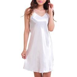 Costbuys  Women Nightshirts Satin Chemises Comfortable Sexy Strap Nightdress Women Underwear Rayon sleepwear - White / XXXL