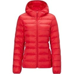 Women's Lightweight Slim-fit Down Jacket, Red / S / With cap