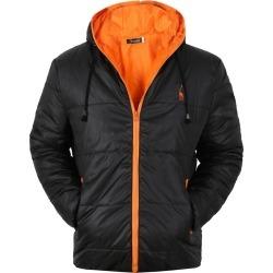 Costbuys  Winter Coat Men Casual Hooded Patchwork Cotton Padding Parka Men Clothing Winter Jacket Men - Deer black orange / XL