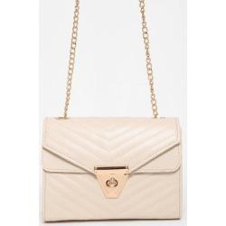 Gold Chain Strap Quilted Beige Box Handbag