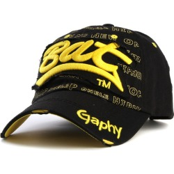 Costbuys  Snapback hats baseball cap hats hip hop fitted cheap hats for men women gorras curved brim hats Damage cap - black yel