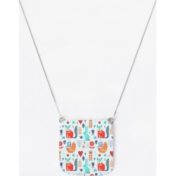 Oversized Square Pendant - Animal Pattern in Blue/Brown/Cyan by Haris Kavalla Original Artist found on Bargain Bro India from SHOPVIDA for $50.00