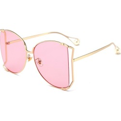 Costbuys  Metal Square Gradient Sunglasses Men Women Pearl Decoration Glasses Designer Fashion Male Female Shades - C4 gold pink