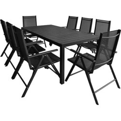 9 Piece Outdoor Dining Set Aluminum And Wpc Black