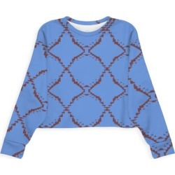 Modern Eco Sweatshirt - Ethno Design Blocks Blue in Blue/Brown/Purple by VIDA Original Artist